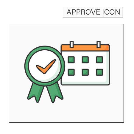 Approve calendar color icon Illustration