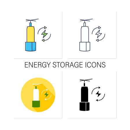 Energy storage icons set
