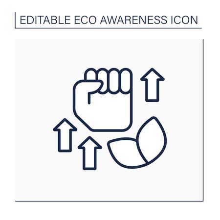 Ecology fight line icon Illustration