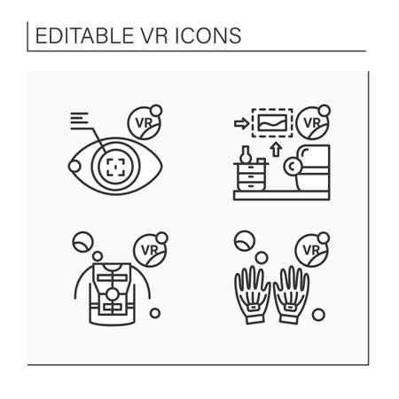 Virtual reality line icons set Illustration