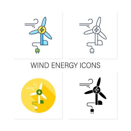 Wind energy icons set