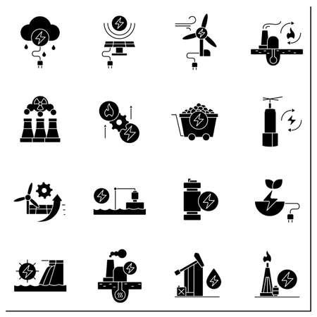 Energy glyph icons set