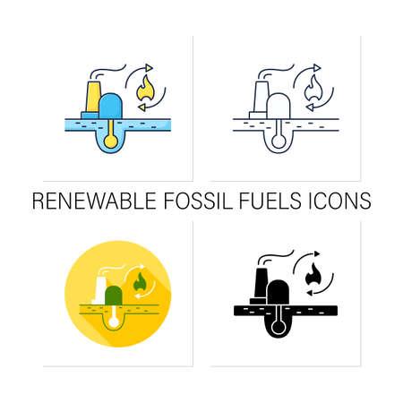 Renewable fossil fuels icons set