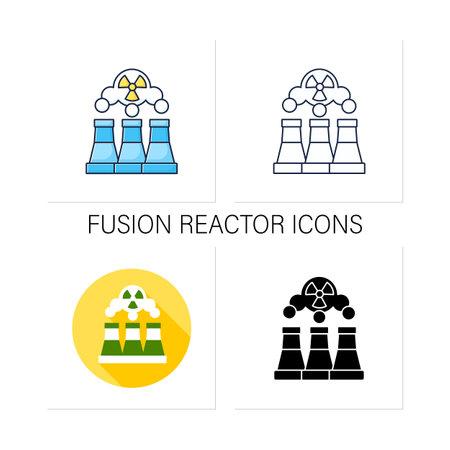 Fusion reactor icons set Illustration