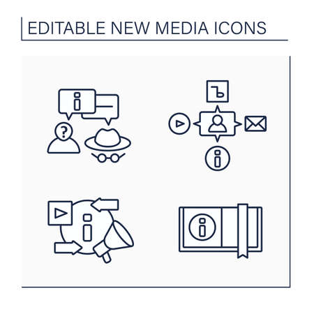 New media line icons set
