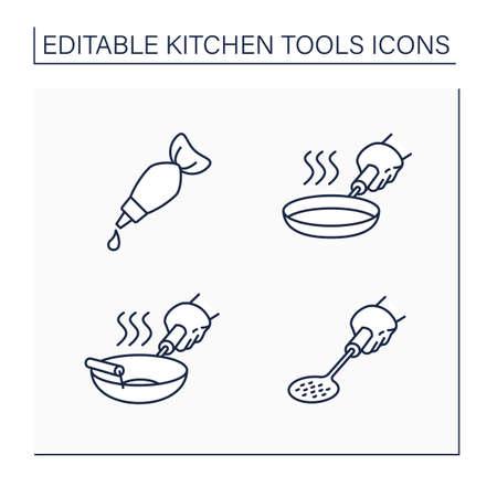 Kitchen tools line icons set Illustration