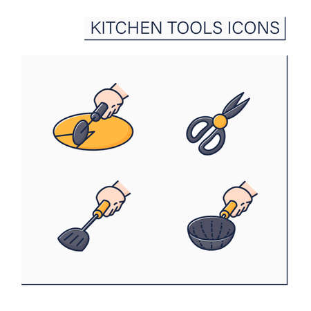 Kitchen tools color icons set