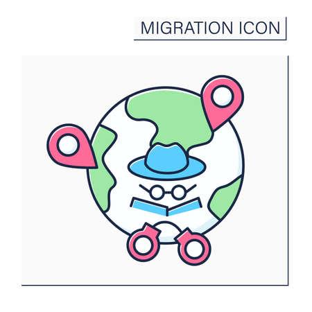 Irregular migration color icon Illustration
