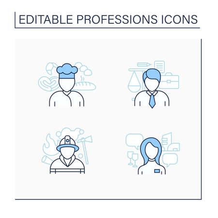 Professions line icons set