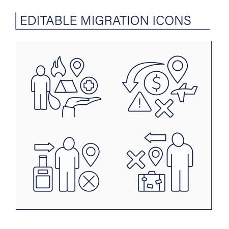 Migration line icons set Illustration