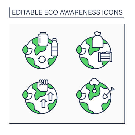 Eco awareness line icons set