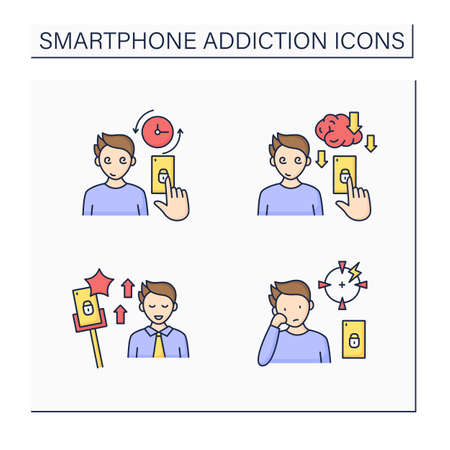Smartphone addiction color icons set