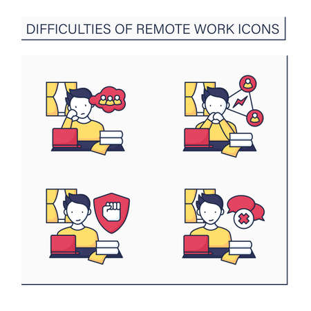 Remote work color icons set