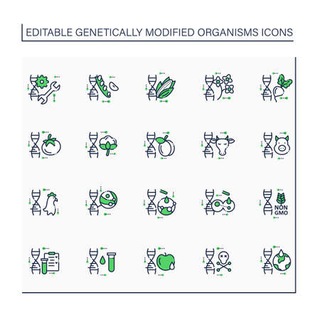 Genetically modified organism line icons set