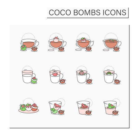 Coco bombs color icons set Illustration