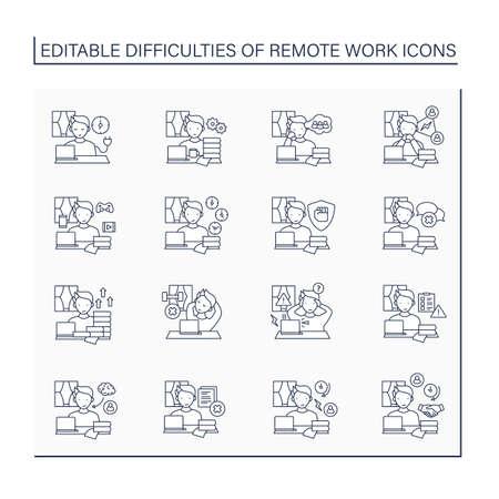 Remote work line icons set