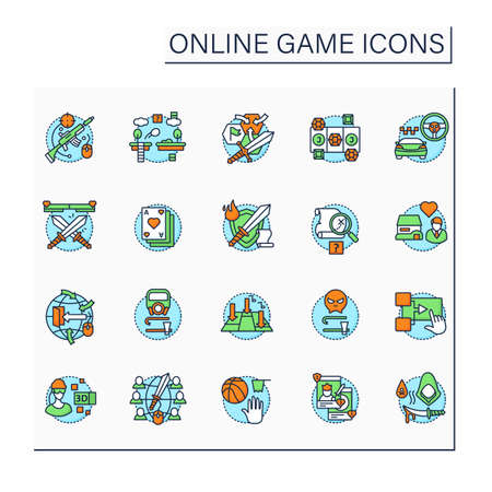 Online game color icons set