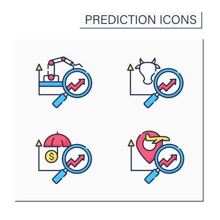 Predictive analytics color icons set