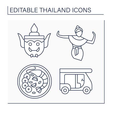 Thailand line icons set