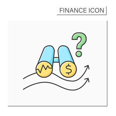 Cash flow projection color icon Illustration