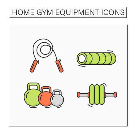 Home gym equipment color icons set Illustration