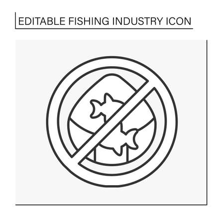 Illegal fishing line icon