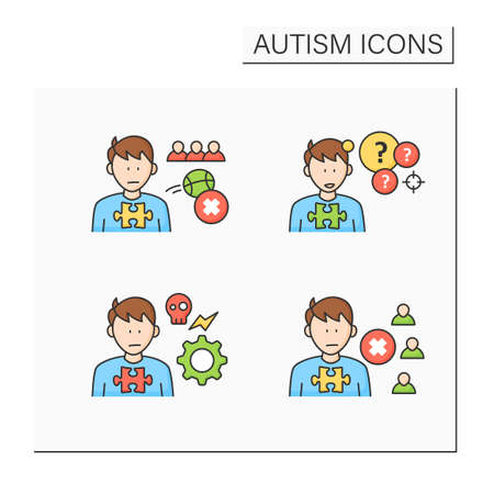 Autism spectrum disorder color icons set