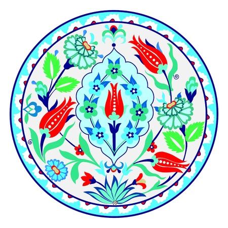 Antique ottoman turkish ceramic design Çizim