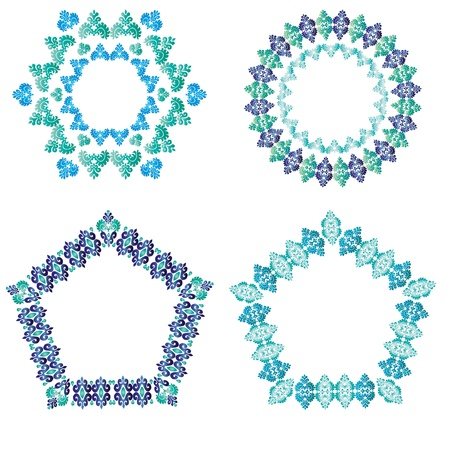 polygonal border set  blue and white ottoman style Stock Vector - 18020248