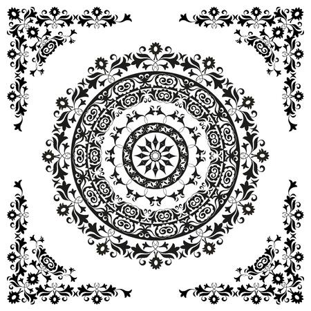 oriental ornament in black and white circular