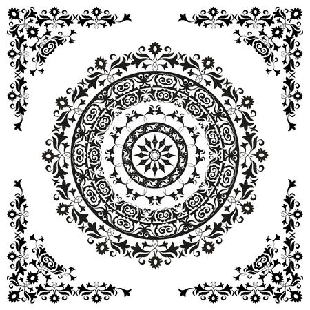 circulaire: ornement oriental dans la circulaire noir et blanc