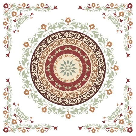 circular pattern of traditional motifs and ancient oriental ornaments
