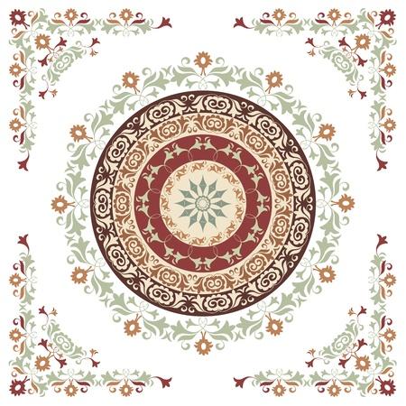 cirkelvormig patroon van traditionele motieven en oude oosterse ornamenten Stock Illustratie