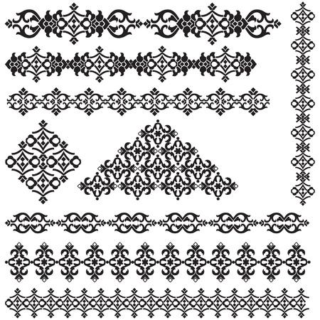 studied: studied the eastern border set of antique patterns Illustration
