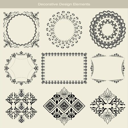 Frames and design elements drawn in the old style Vector
