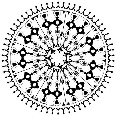 black and white circular pattern of elegant oriental studies Çizim