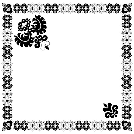 Turkish border and composition of oriental-style embroidery pattern