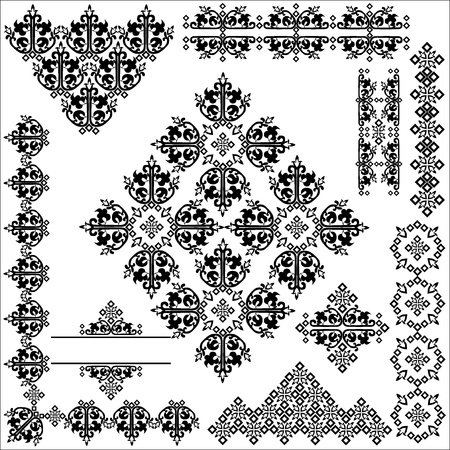 studied: studied the eastern border set of traditional patterns Illustration