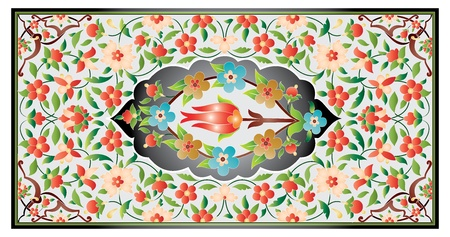 manuscript old page ornament ottoman pattern applied to books Illustration