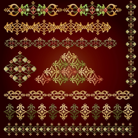 seamless bacground: the eastern border of traditional ottoman set of patterns Illustration