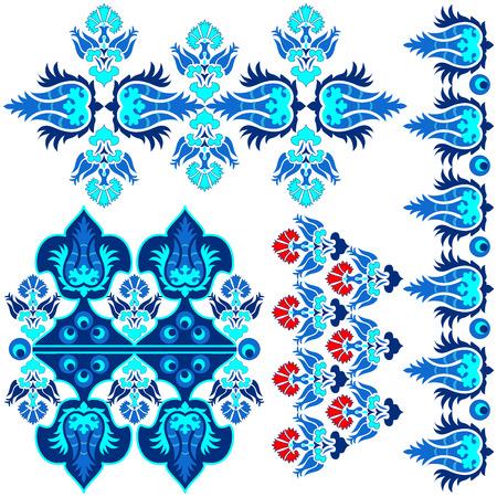 blauwe serie is ontworpen met behulp van de oude patronen anatolia Stock Illustratie