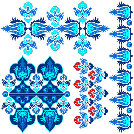 oriental: blue series is designed using the old patterns anatolia