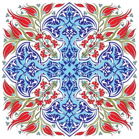 blauwe reeks van de oude patronen anatolia Stock Illustratie