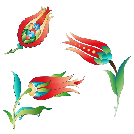 Versions of Ottoman decorative arts, abstract flowers Vector