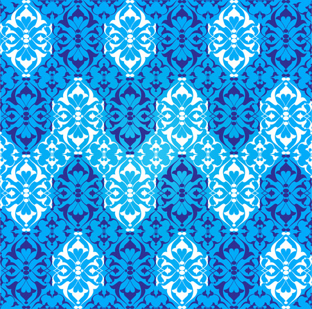studied: studied traditional oriental seamless damask pattern with floral motifs