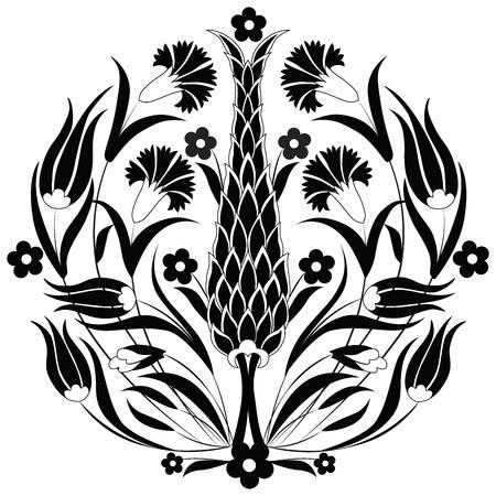 zypresse: Reihe von Mustern durch die Nutzung des ehemaligen Osmanischen entworfen Illustration
