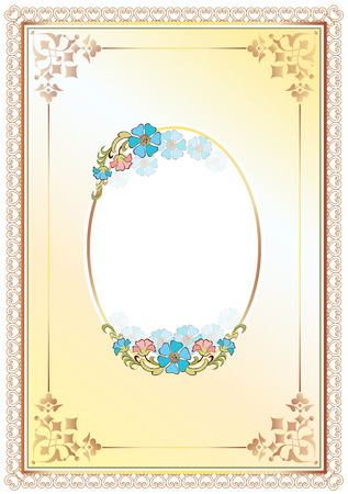 classic decorative frame and border decorated with flowers