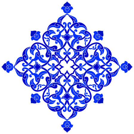 motif floral: Blue patterns series designed utilizing the old Ottoman motifs Illustration