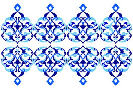 ottoman: Blue patterns series designed utilizing the old Ottoman motifs Illustration