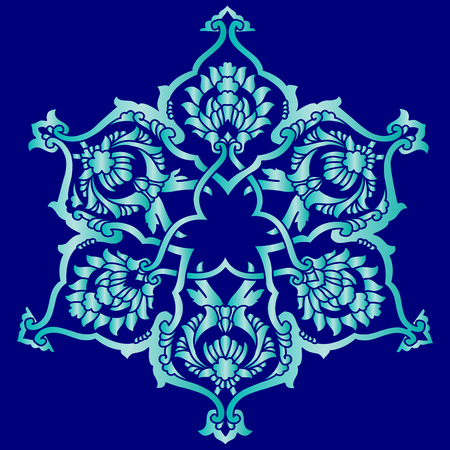 anatolia: Blue patterns series designed utilizing the old Ottoman motifs Illustration